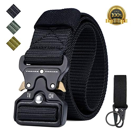 Tactical Belt, Tenine Nylon Military Belt 1.5 Inch Tactical Resistant with Quick Release Metal Strap For EDC Team Molle Tactical Belt (Black)