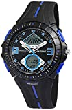 Herrenuhr Analog Digital Schwarz Blau + Box Quarz Silikon Chronograph Armbanduhr Sport Alarm Licht Stoppuhr Datum AnaDigi