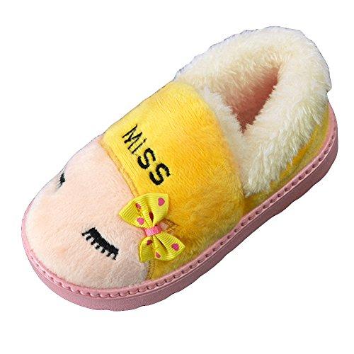 Fortuning's JDS Enfants Garçons filles Unisexe Bow Lunettes Chat Coton Chaussons Grosses bottes de neige Jaune