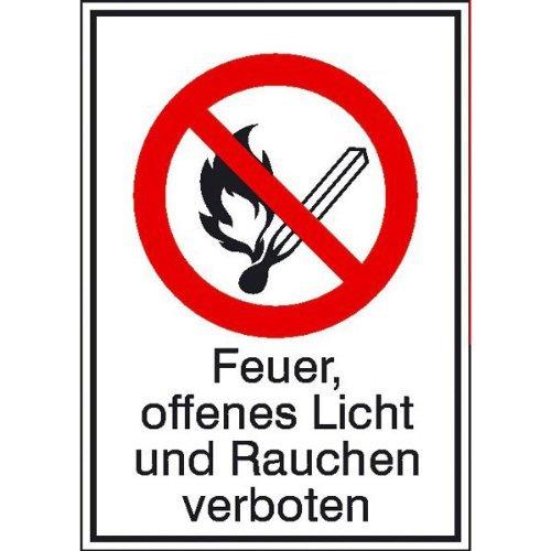 Preisvergleich Produktbild Feuer, offenes Licht und Rauchen verb.Verbotsschild,selbstkl.Folie,10,50x14,80cm
