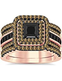 Silvernshine Enhancer Ring Guard & Engagement Ring Set Rose Gold Plated Citrine Sim Diamonds