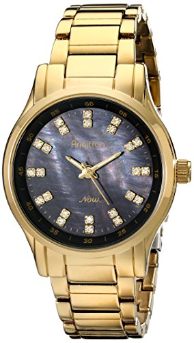 Armitron Women's 75/5100JMGP Swarovski Crystal-Accented Gold-Tone Bracelet Watch