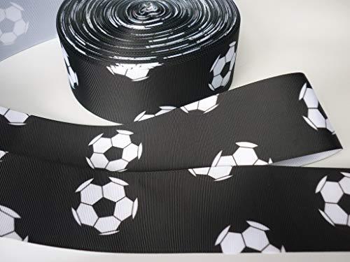 Nastro in gros grain per decorazione torte, motivo calcio, 1 m x 50 mm, colore: nero