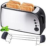 Grille-pain en acier inox pour 4 tranches | 1500 Watts avec tiroir à miettes | fente pour pain à sandwich | compartiment à pain amovible | boîtier doublement isolé | réglage de la température en continu | fente double / 4 tranches