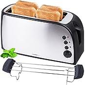 TZS First FA-5367-1, TZS First Austria - gebürsteter Edelstahl 4 Scheiben Toaster 1500W mit Krümelschublade Sandwich Langschlitz | abnehmbarer Brötchenaufsatz | wärmeisoliertes Gehäuse, stufenlose Temperatureinstellung