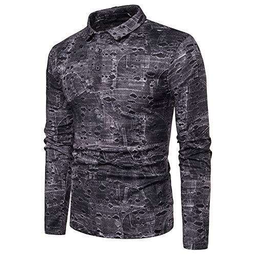 Männer Retro Printed Langarm Polo Shirt Lässige T-Shirts Sweatshirt Pullover Bluse (Grau,M) Paisley Printed Silk Dress
