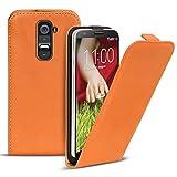 Conie Flip Hülle kompatibel mit LG G2, PU Ledertasche in Orange klappbare Handyhülle innen weich gefüttert