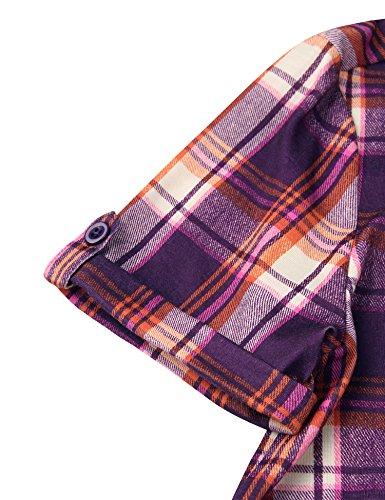 Youtalia Damen Casual locker kariertes T Shirt Kleid Freizeit Karierte Bluse Tunika Top Violett