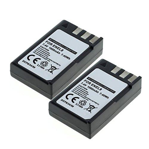 CELLONIC 2X Batería Premium para Nikon D3000 Nikon D5000 Nikon D60 Nikon D40 Nikon D40x (1000mAh) EN-EL9,ENEL9a,EN EL9E bateria de Repuesto, Pila reemplazo, sustitución