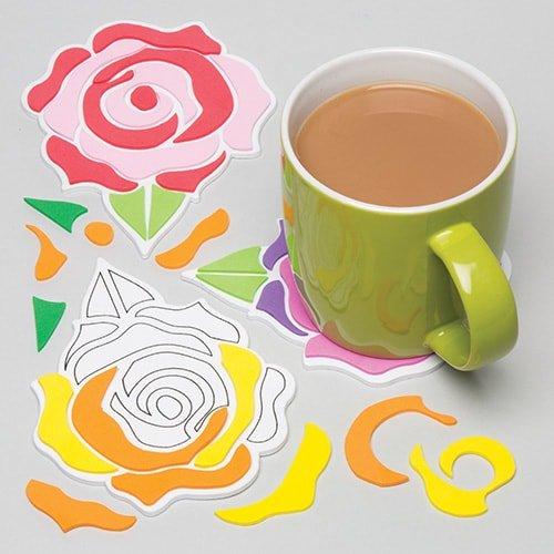 """k-Untersetzer """"Rose"""" für Kinder zum Selbermachen – ideal als Dekoration zum Valentinstag (6 Stück) (Handwerk Aktivitäten Für Kinder)"""