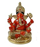 RP Collections Gold Plated Divine Siddhivinayak Idol Gold Plated Divine Gold Art India Ceramic Ganesh Idol for Car Dashboard