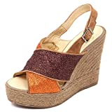 Espadrilles D2560 Sandalo Donna Brown/Orange Zeppa Glitter Shoe Woman [38]