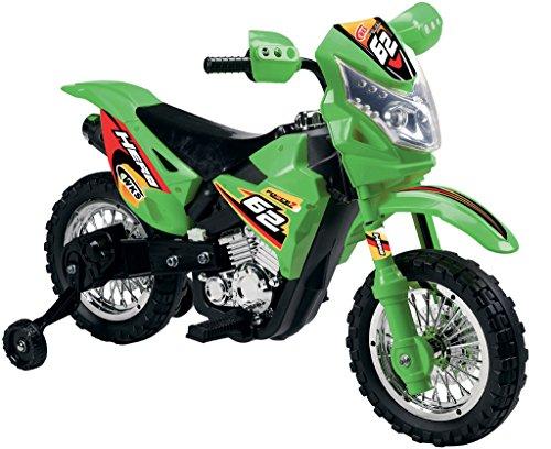 Mondial Toys Moto ELETTRICA per Bambini Enduro Super Cross 6V Colore Verde