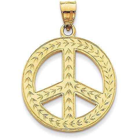 14K oro Lucidato pace segno Ciondolo–Misure 39,4x