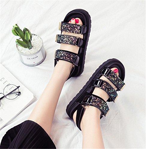 NEWZCERS Sandales velcro épais d'été pour femmes, sandales sport plates Noir