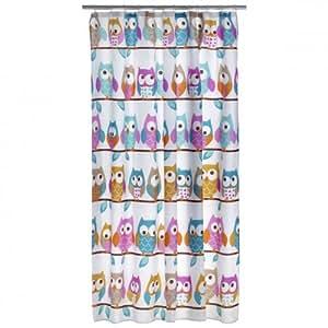 rideau de douche textile motif hibou kautz oiseau polyester 180 x 200 cm store badevorhang. Black Bedroom Furniture Sets. Home Design Ideas