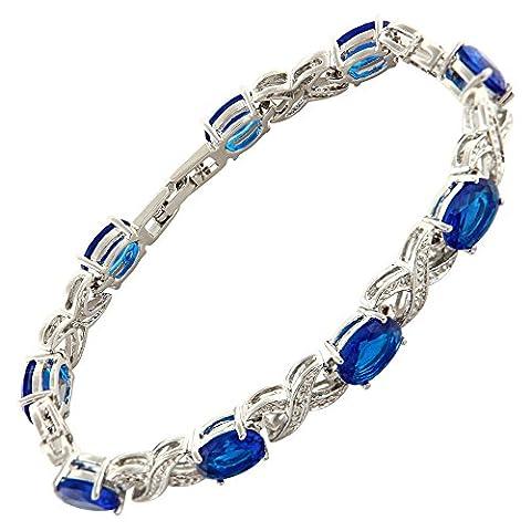 Jewellery Oval Cut Blue Sapphire Gemstones Fine CZ 18K White