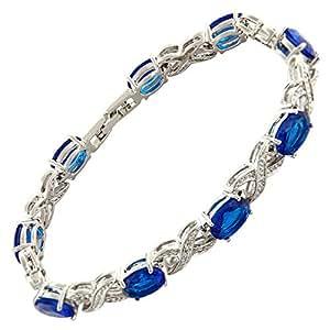 Jewellery Oval Cut Blue Sapphire Gemstones Fine CZ 18K White gold Plated [18cm / 7inch] Tennis Infinity Bracelet Simple Modern Elegant Prong Setting [Free Jewelry Pouch]