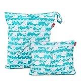 Damero 2 Stück windeltasche wetbag wiederverwendbar, Nasstaschen für Unterwegs, Wetbag windelbeutel für Babys Windeln, schmutzige Kleidung und anderes Zubehör, (Groß + Klein, Netter Wal)