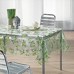 Kamaca - Mantel para exterior impermeable y resistente a las manchas 2 cm, transparente/verde, 2 tamaños a elegir, toalla, Transparent / Grün, 140x240 cm