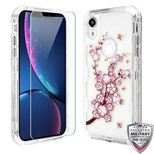 Case+Tempered_Glass + Stylus, TUFF Lucid Hybrid-Schutzhülle für Apple iPhone XR/iPhone 9 MYBAT Transparent/Rosa Frühlingsblumen und Gelbe Bienen -