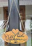 LB H&F Türschild - Herzlich Willkommen - Rostschild NATURROST Schild 27x15 cm ausgestanzt mit Juteseil zum aufhängen