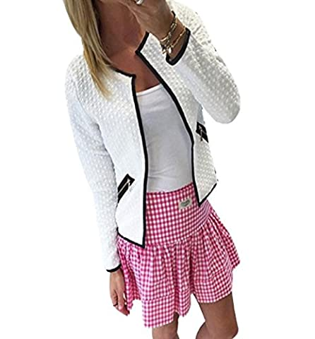 Tonsee Frauen Plaid Langarm Lattice Tartan Cardigan Top Mantel Jacke Outwear (34, Weiß)