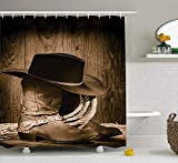tgyew Western Decor Shower Curtain, Wild West Themed Cowboy Hat And Old Ranching Rope On Wooden Display Rodeo Style, Fabric Bathroom Decor Set with Hooks, 60W X 72L Inche, Brown