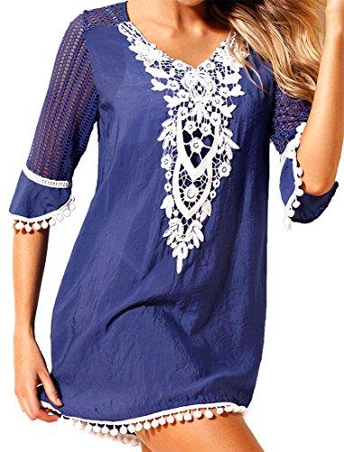Frieda Fashion - Copricostume - Basic - Maniche a 3/4 -  donna Blau