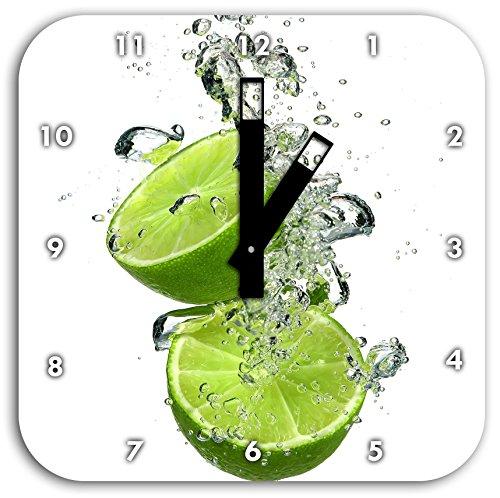 Stil.Zeit Limette fällt in das Wasser, Wanduhr Quadratisch Durchmesser 28cm mit schwarzen eckigen Zeigern und Ziffernblatt (Frische Lieferung Diät)