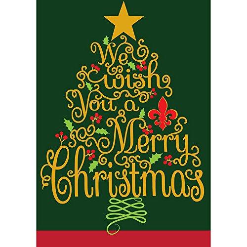 WE WISH YOU A MERRY CHRISTMAS 18x 13Rechteckiger, doppelt Aufnäher kleinen Garten Flagge -