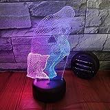Carattere pensatore 3D Luce notturna colorata Lampada da scrivania a led a due colori Interruttore a pulsante Pulsante Lampada da illusione Lampada da comodino Regalo di complean
