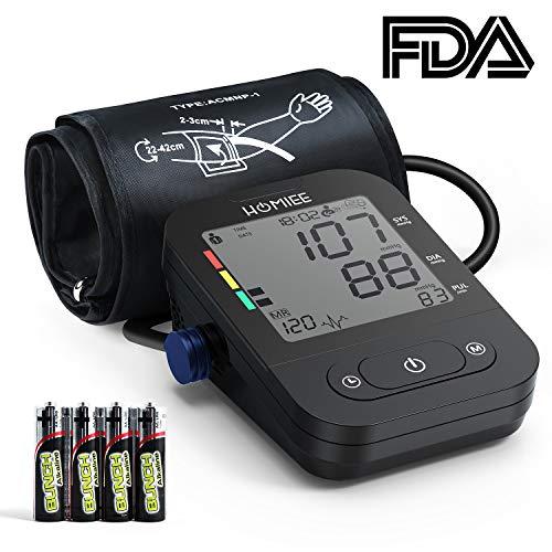 HOMIEE Oberarm Blutdruckmessgerät,klinische Vollautomatische professionelle Blutdruk-und Pulsmessung 2 * 120 Speicherplätze, mit Arrhythmie Anzeige,FDA und CE Zertifizierung (Schwarz)