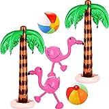 meekoo 6 Stücke Aufblasbare Palmen Baum Jumbo Kokosnus Bäume Rosa Flamingos Bunte Strand Bälle...