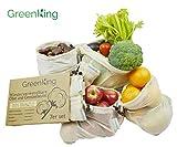 GreenKing Wiederverwendbare Obst und Gemüsebeutel aus Baumwolle, Einkaufstaschen, Cotton Produce Bags, plastikfrei, 7er Set mit Aufbewahrungstasche