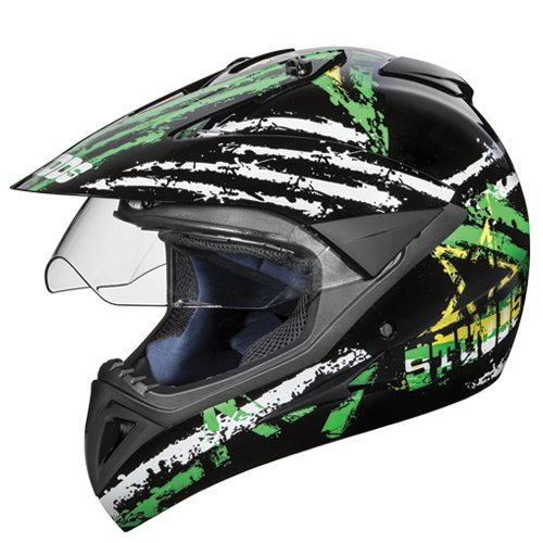 Studds Motocross D5 Helmet With Visor (Black N3, L)