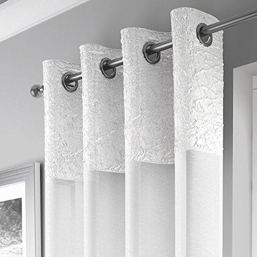 Mirabel - elegante tenda a pannello - ciniglia - attacco ad occhiello/asola - bianco - l135 x lungh 183 cm