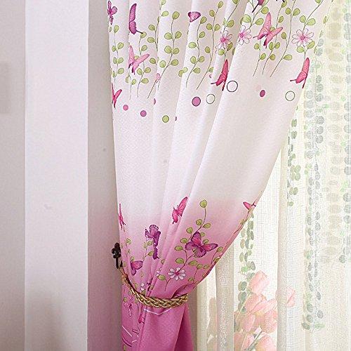 Asdomo farfalla fiori stampato finestra tende, girls room tenda pannelli per soggiorno e camera bambini stanza tenda da doccia per camera da letto, 1pannelli (1m x 2m), poliestere, 1 panel, 1x2m