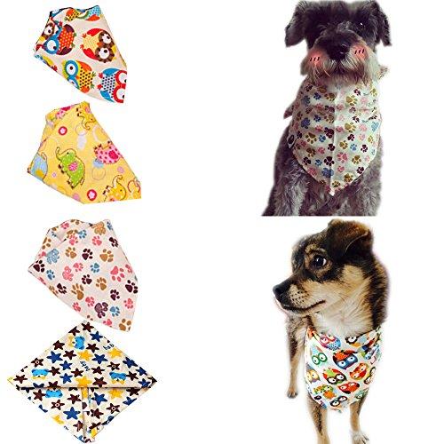 Bolbove Bro'Bear Halstuch für Katzen und kleine bis mittelgroße Hunde, dreieckig, 4 Stück, 24 * 16 * 12 Inches, bunt