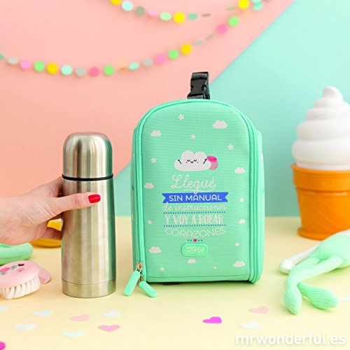 Mochila Termica con termo liquido 350ml Mr Wonderful Azul Castellano