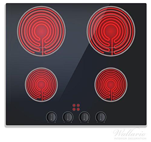 Wallario Herdabdeckplatte / Spitzschutz aus Glas, 1-teilig, 60x52cm, für Ceran- und Induktionsherde, Aktives Cerankochfeld Induktionskochfeld Optik - Standard schwarz rot mit 4 Kochplatten und Bedienf