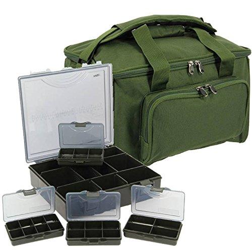 Karpfen Angeln Reisetasche + 4 Fischer Schachteln+ 1Gepäck Tasche.