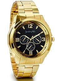 JewelryWe Reloj dorado de esfera negra, reloj de caballero cuarzo, 3 ojos de decoración, reloj de hombre acero inoxidable
