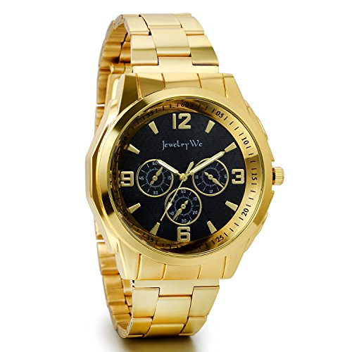 jewelrywe-orologio-uomo-display-nero-bracciale-golden-in-acciaio-inossidabile