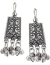93a7cb8cd8 9blings Tribal Collection Silver Oxidized Beads Jhumka Earrings For  Women/Girls(Silver Earring 1_AR_V