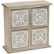 Mini Madera–Cajonera de madera con 4cajones (28x 27x 12cm)