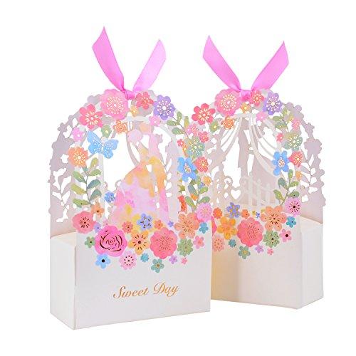 Wolfteeth 50 pz bomboniera portaconfetti scatola regalo per matrimonio,confetti caramelle battesimo, compleanno