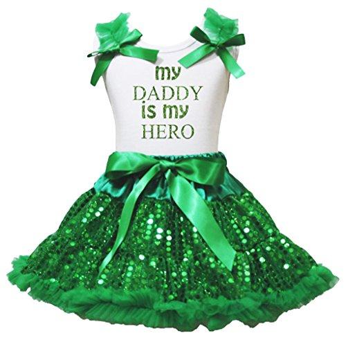 Bling Daddy is my Hero Shirt Kleid Grün Pailletten Rock Mädchen Kleidung SET–74bis 122 Gr. Small, White, Green (Kelly-grün-chiffon-kleid)