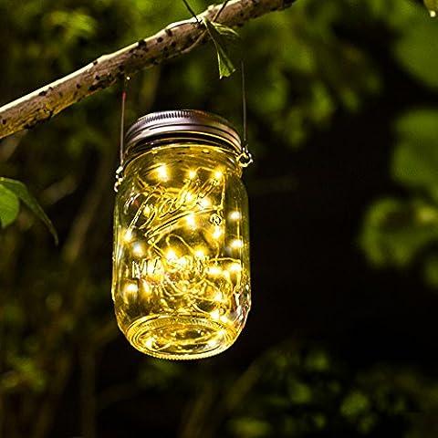 Solar Mason Jar Licht - Jar Fee Licht, Wasserdichte Glasgläser Garten Hängeleuchten, LED Weihnachtsbeleuchtung Lichterkette,LED String Licht für Party, Weihnachtsferien, (Laterne Weihnachtsschmuck)