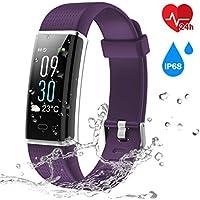 Pulsera Actividad, CHEREEKI Pulsera Inteligente Pantalla Color Fitness Tracker con Cardíaco Monitor Reloj Inteligente Brillo de la Pantalla Ajustable Impermeable IP68 con 14 Modos de Ejercicio, Tiempo, Monitor de Sueño, Mensaje SNS